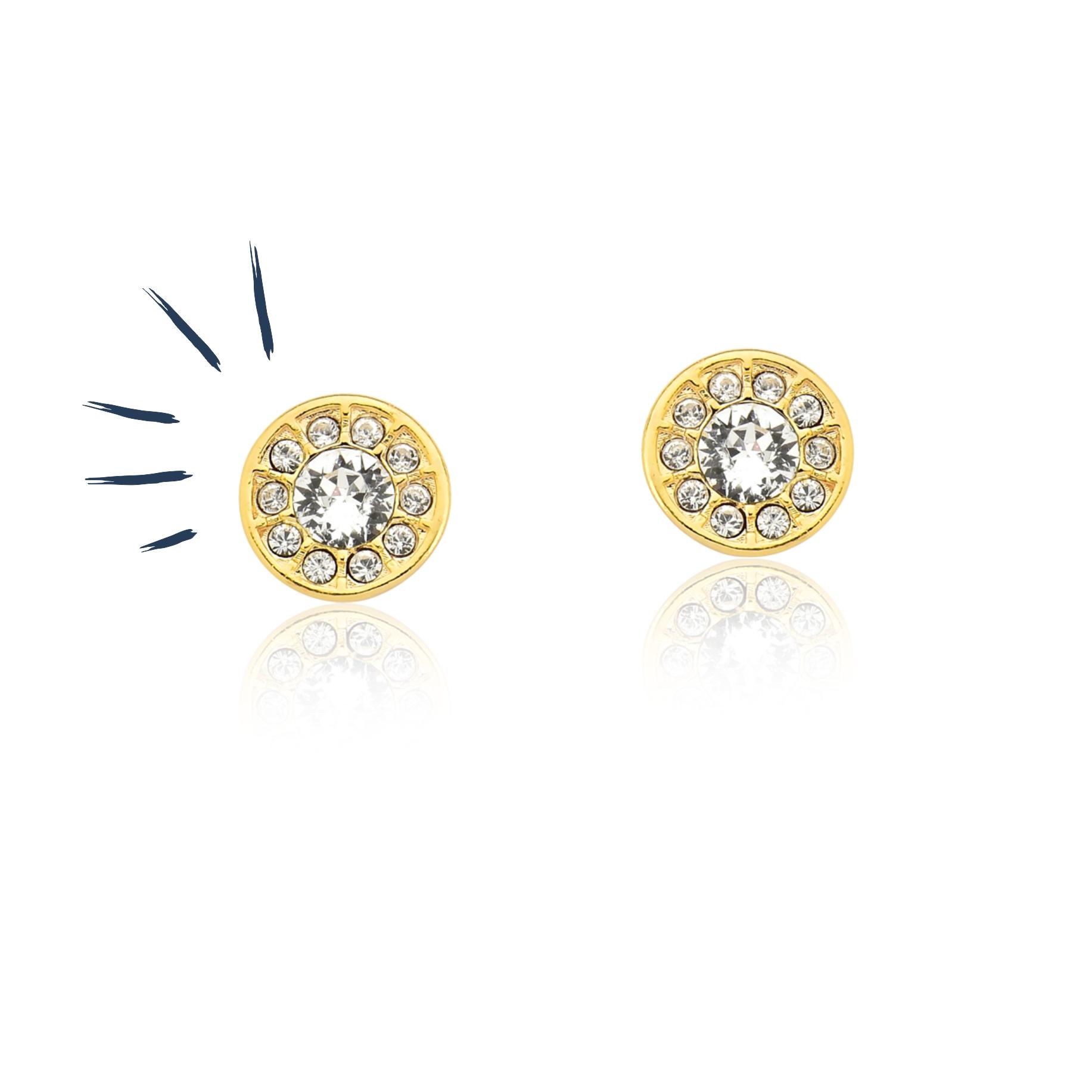 Brinco Spot Light Crystals com Revestimento em Ouro