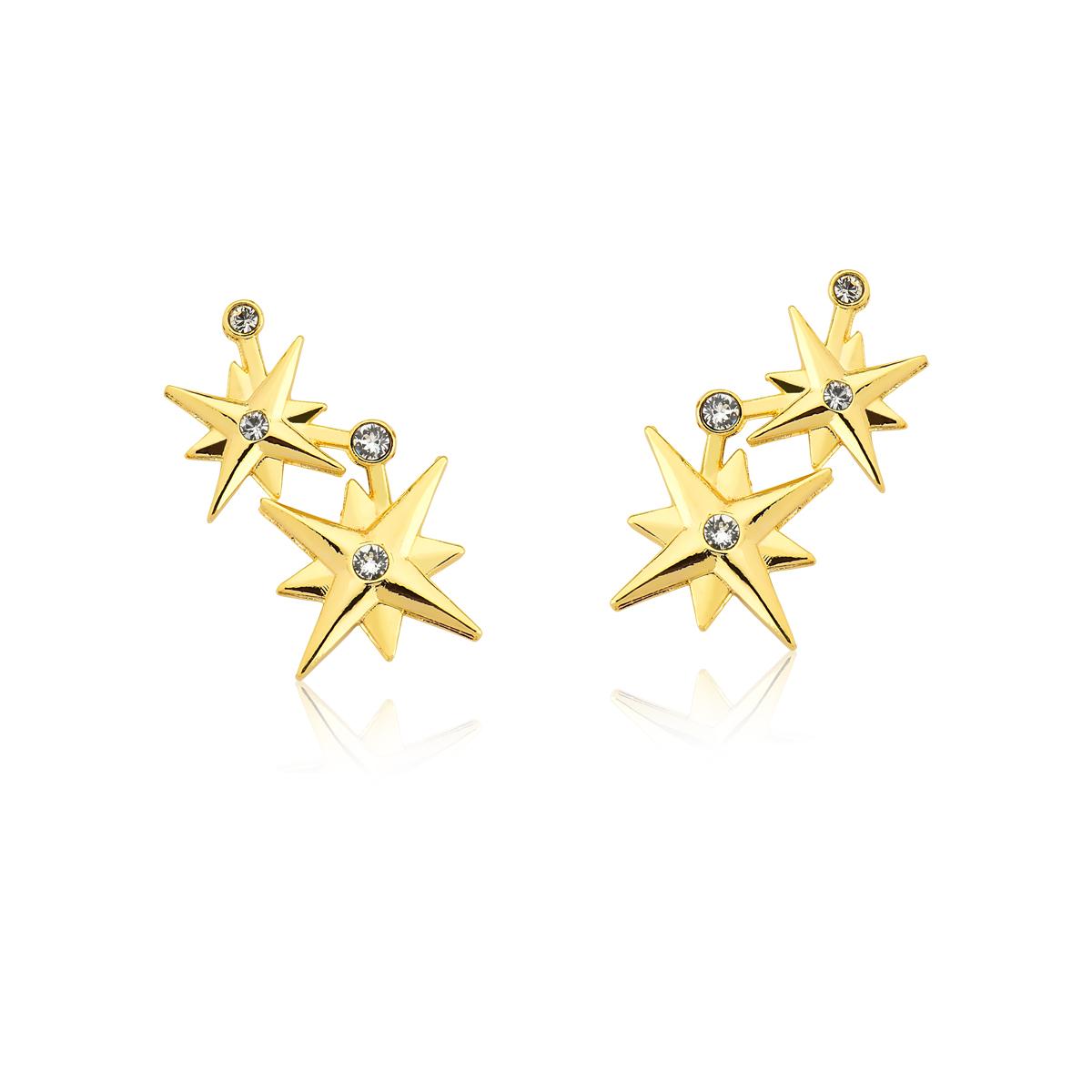 Brinco Stars Crystals, Mulher Maravilha, Revestida em Ouro