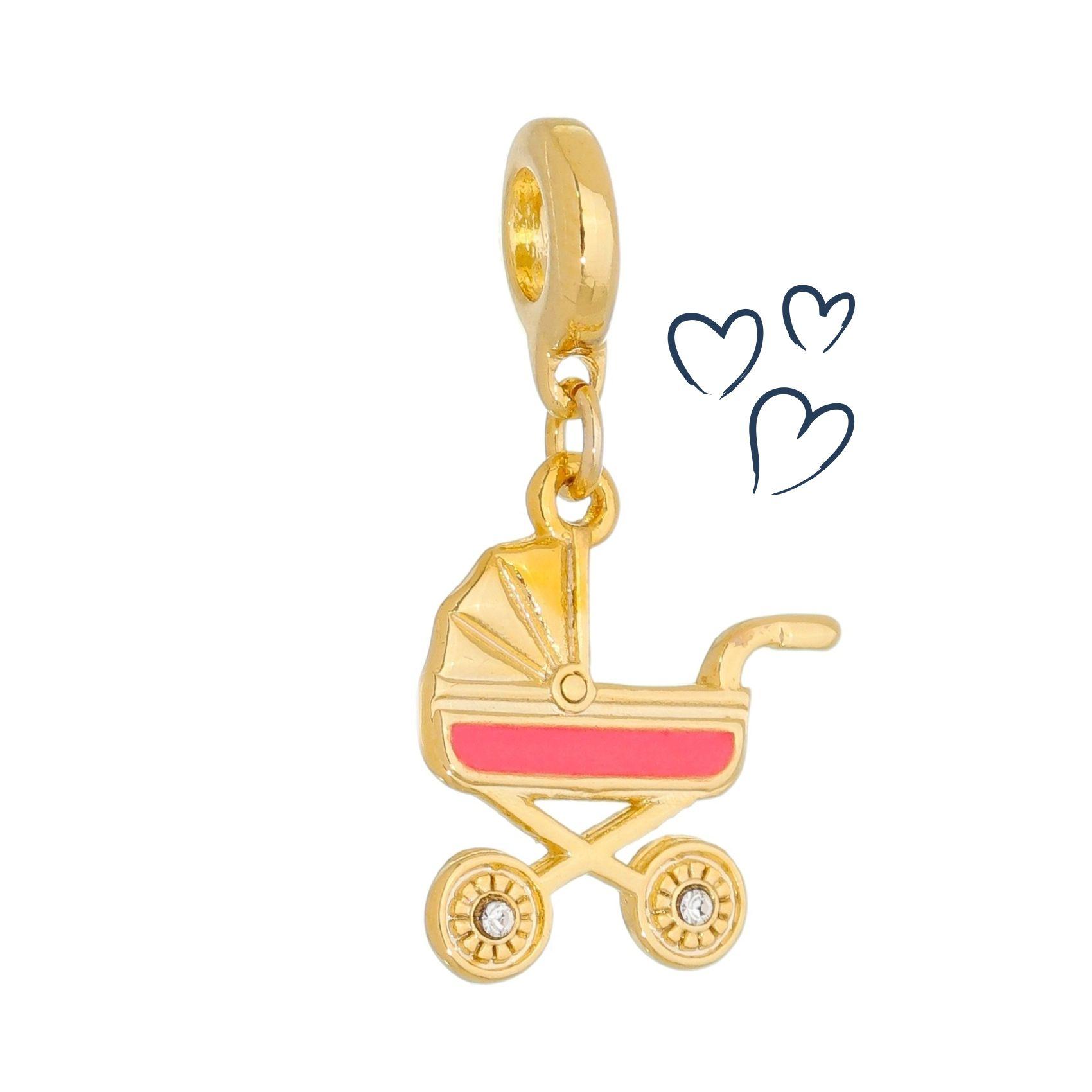 Charm Carrinho Bebê Menina Revestida em Ouro
