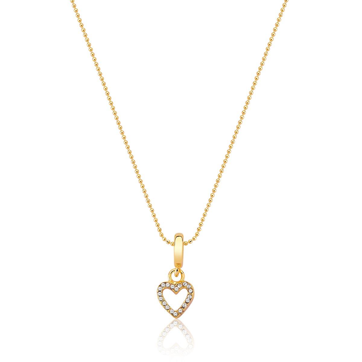 Charm Sparkling Heart Revestido em Ouro