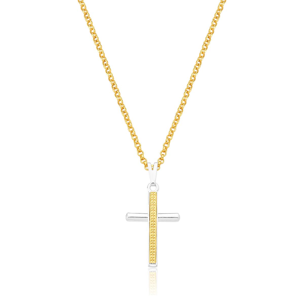 Colar Cross Revestido em Ouro e Prata