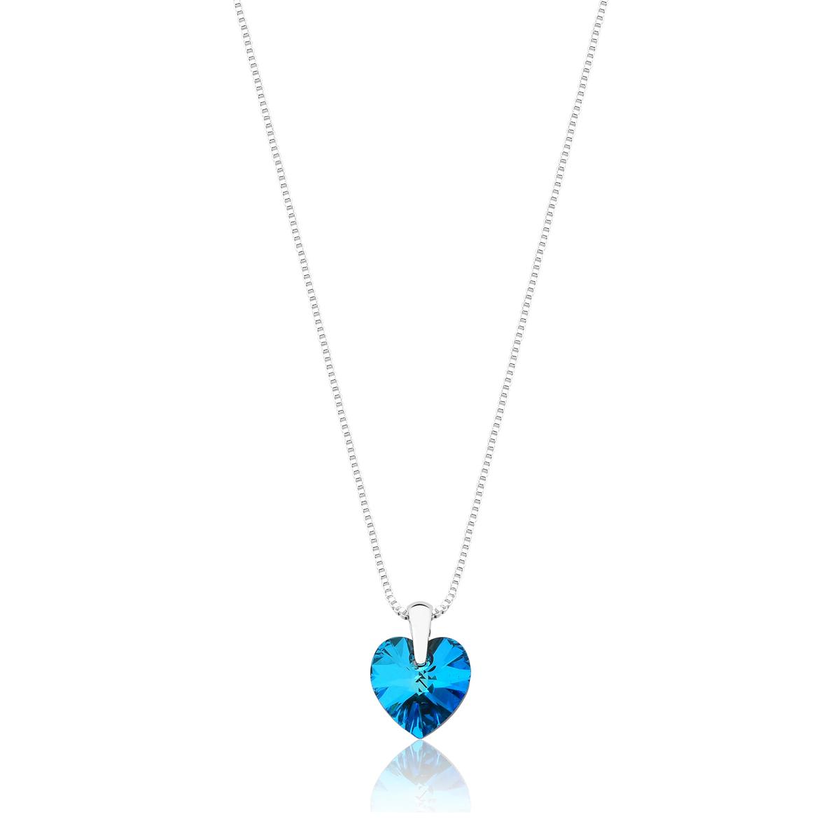 Colar Crystal Heart Blue Revestido em Prata