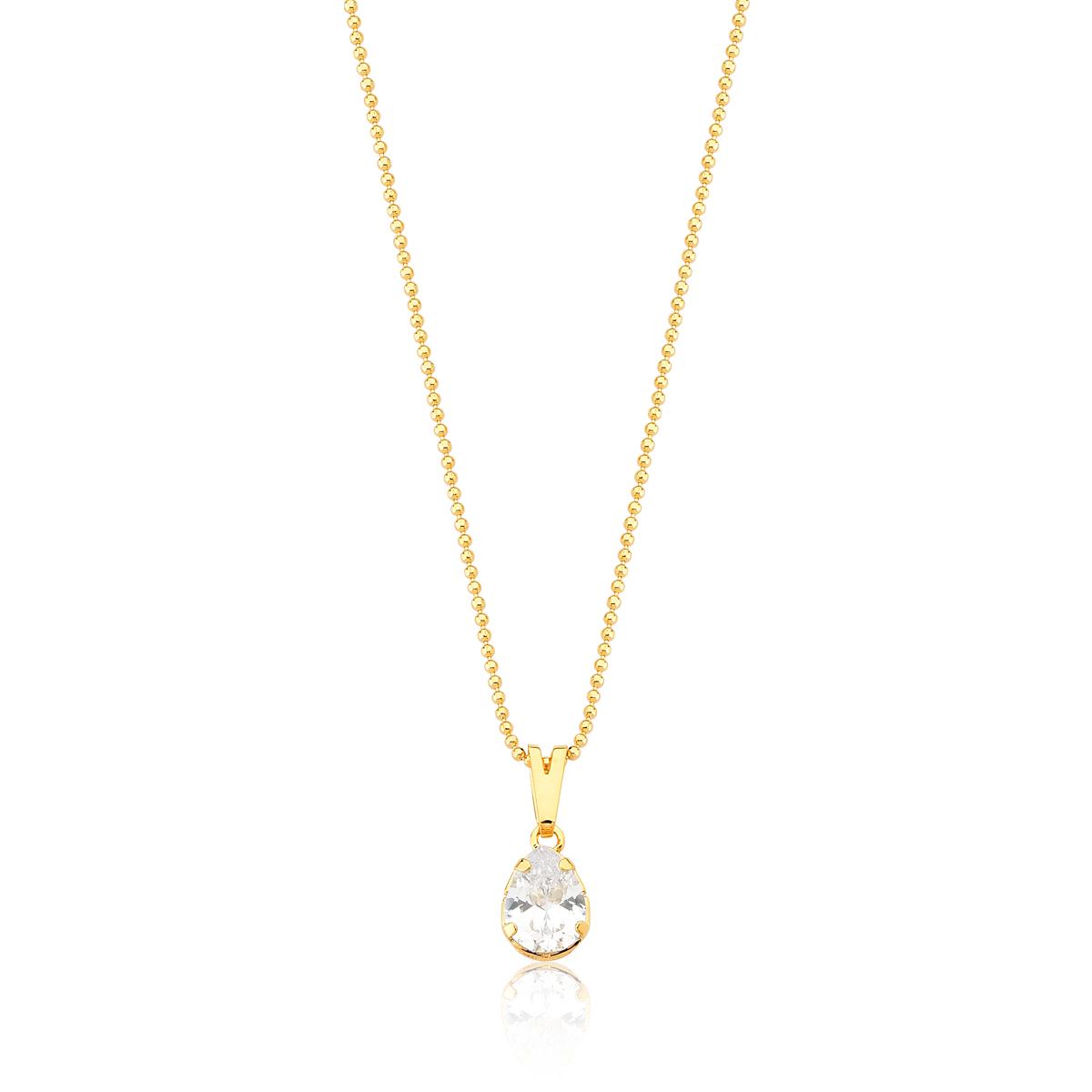 Colar Drop Crystal Revestido em Ouro