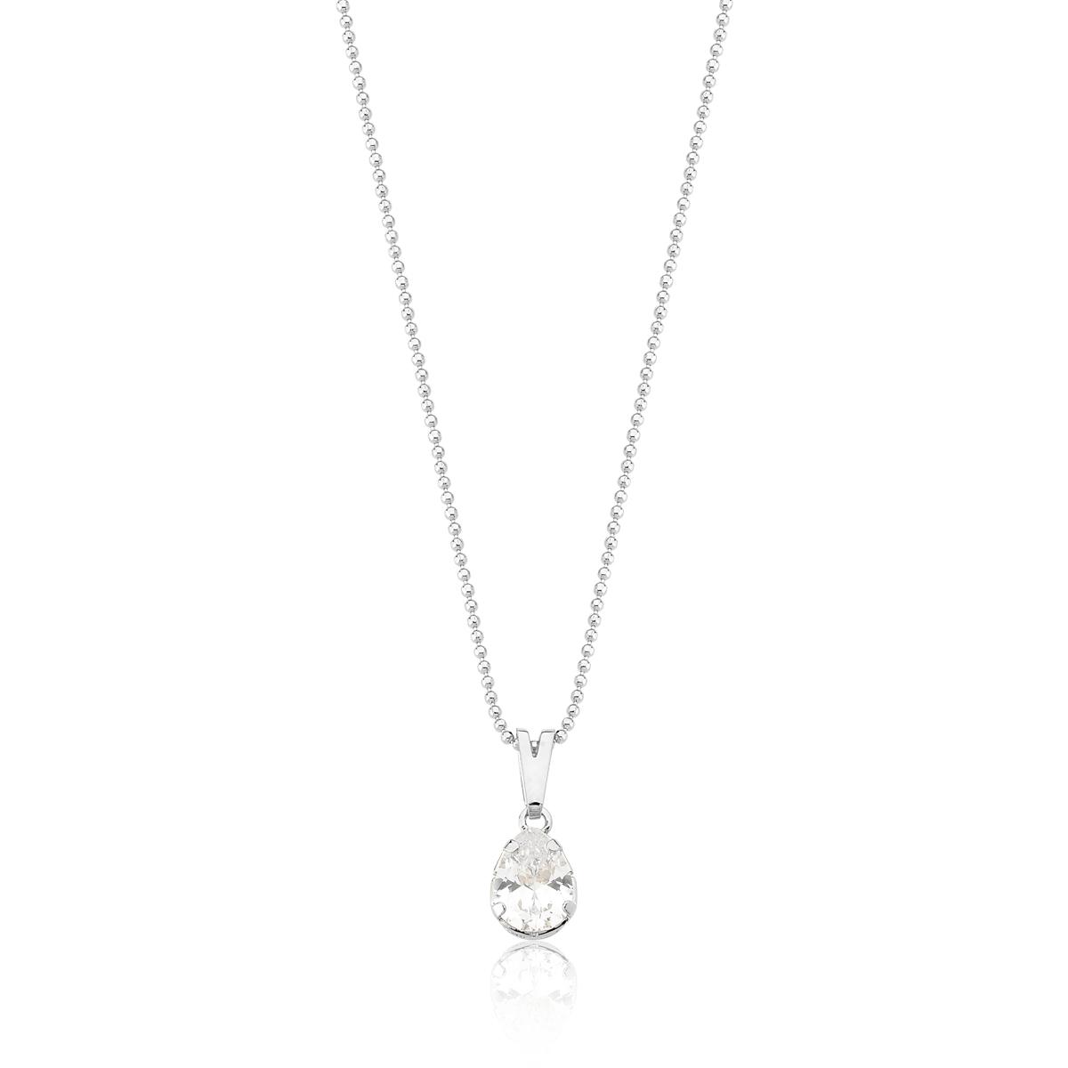 Colar Drop Crystal Revestido em Prata