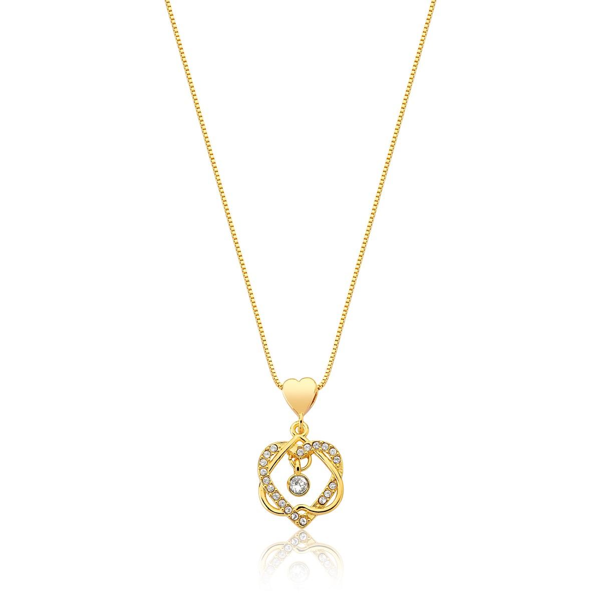 Colar Eternal Love Brilhante Revestido em Ouro