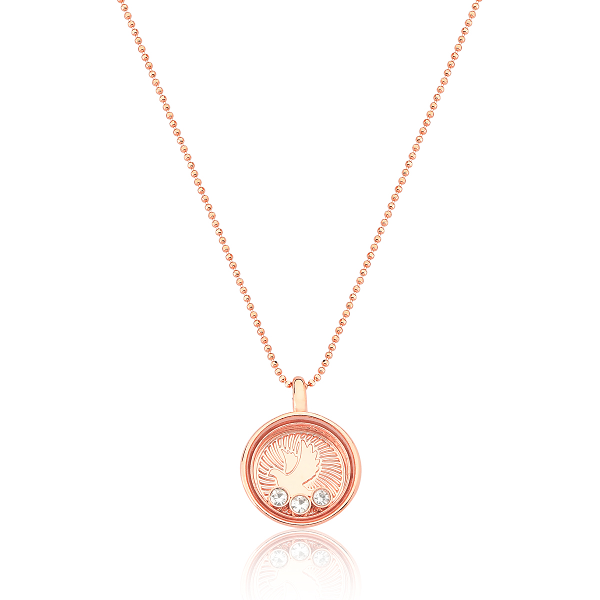 Colar Reliquaire Ballet Crystals Faith Revestido em Ouro Rose