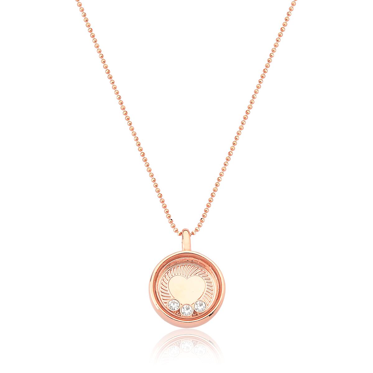 Colar Reliquaire Ballet Crystals Heart Revestido em Ouro Rose