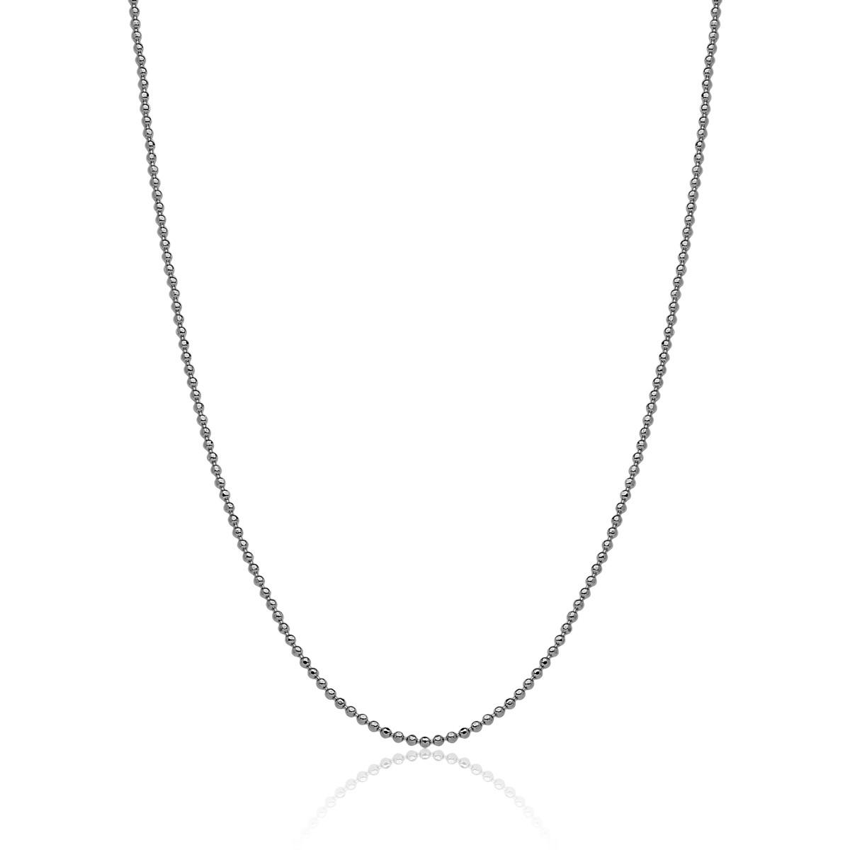 Corrente Boule de Rhodium Diamant Revestida em Ródio
