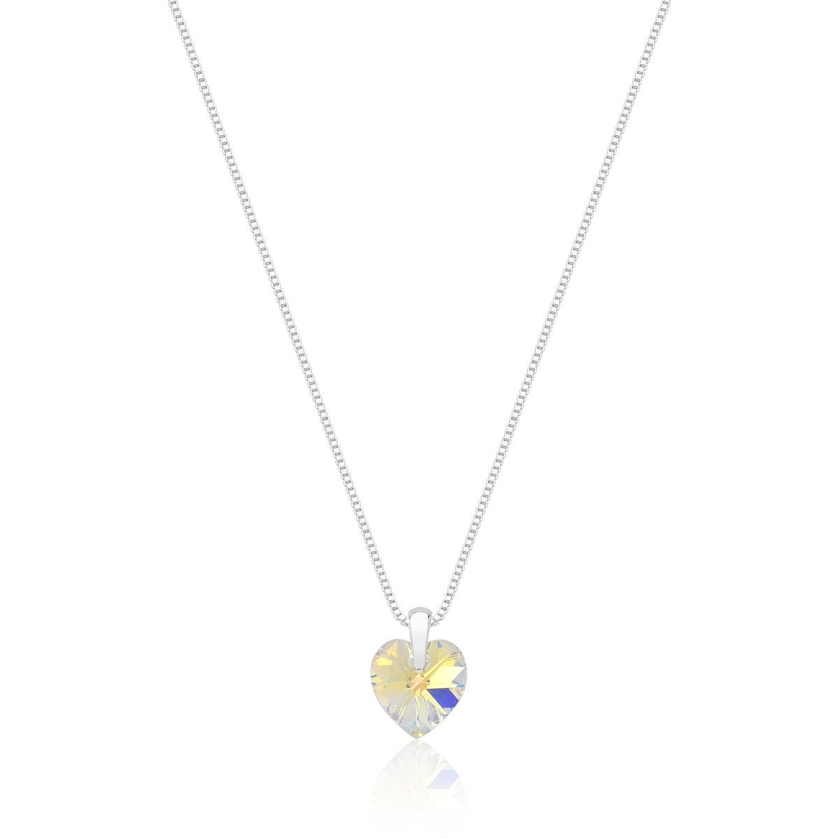 Pingente Crystal Heart Aurore Revestido em Prata