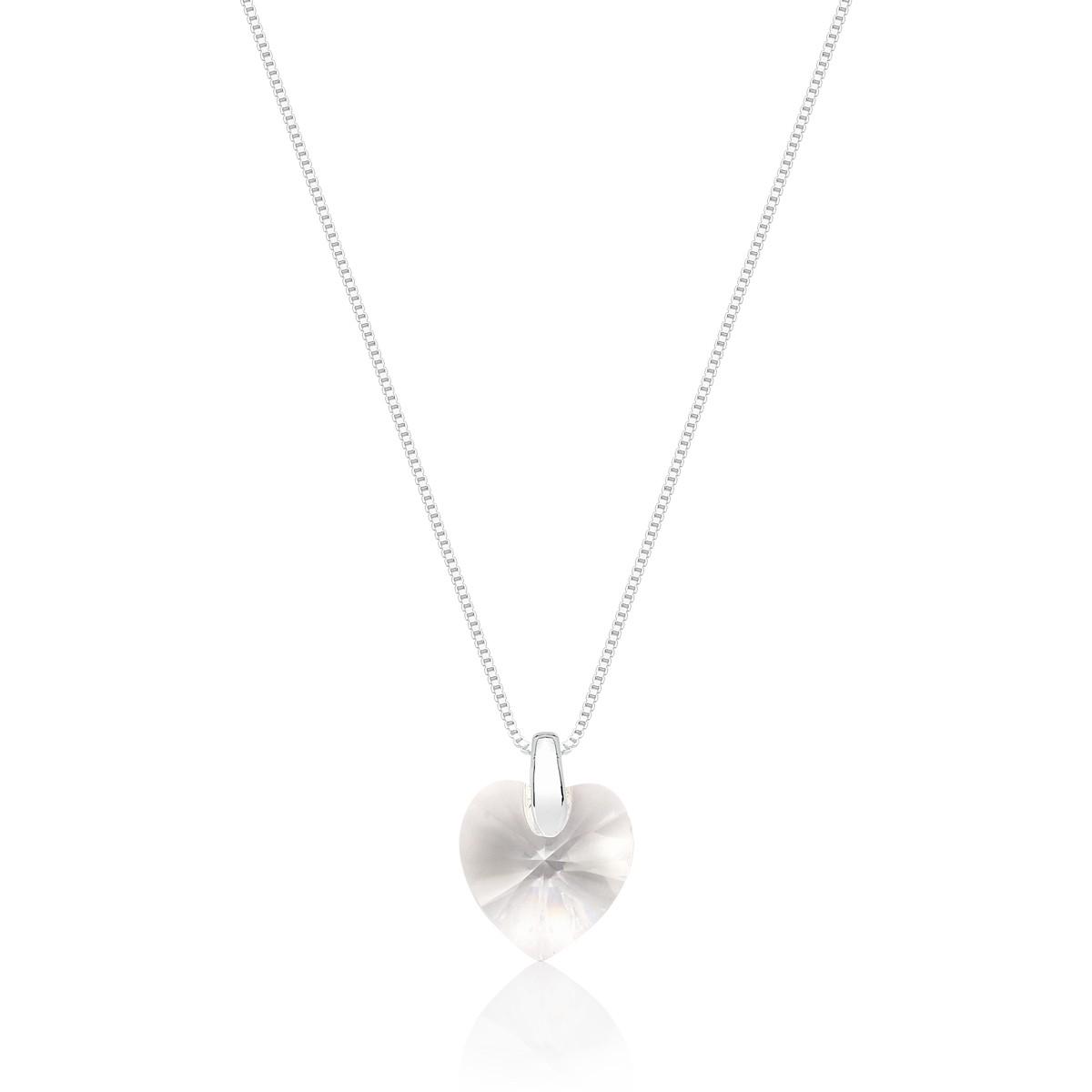 Pingente Crystal Heart Small Revestido em Prata