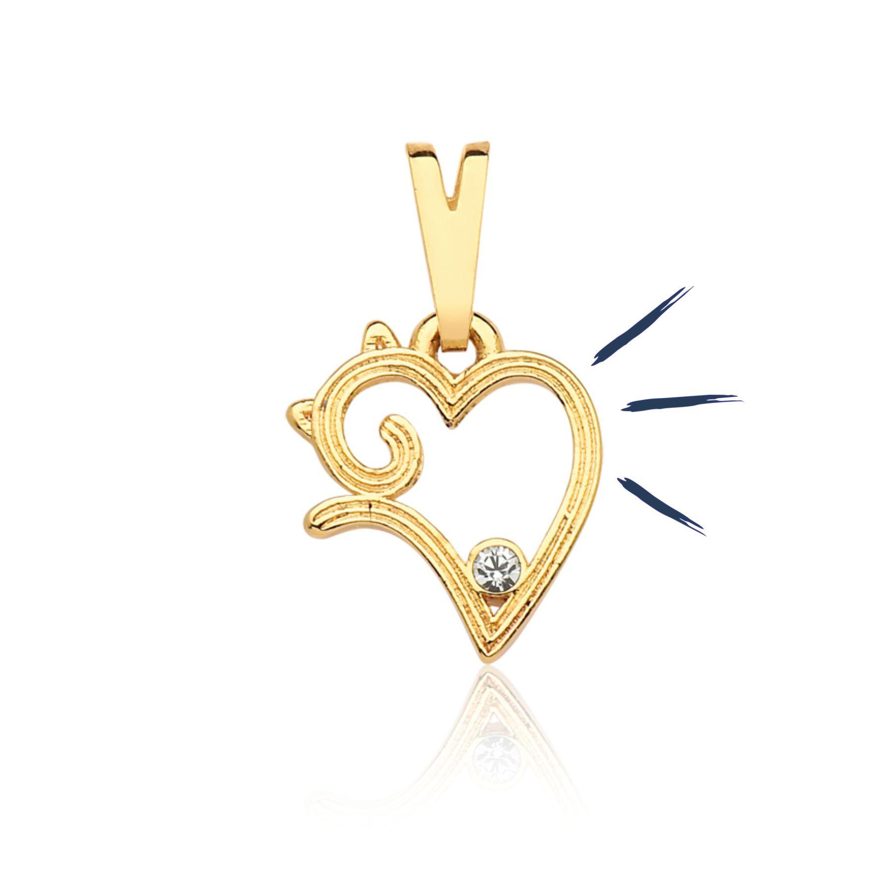 Pingente Heart Cat Revestido em Ouro