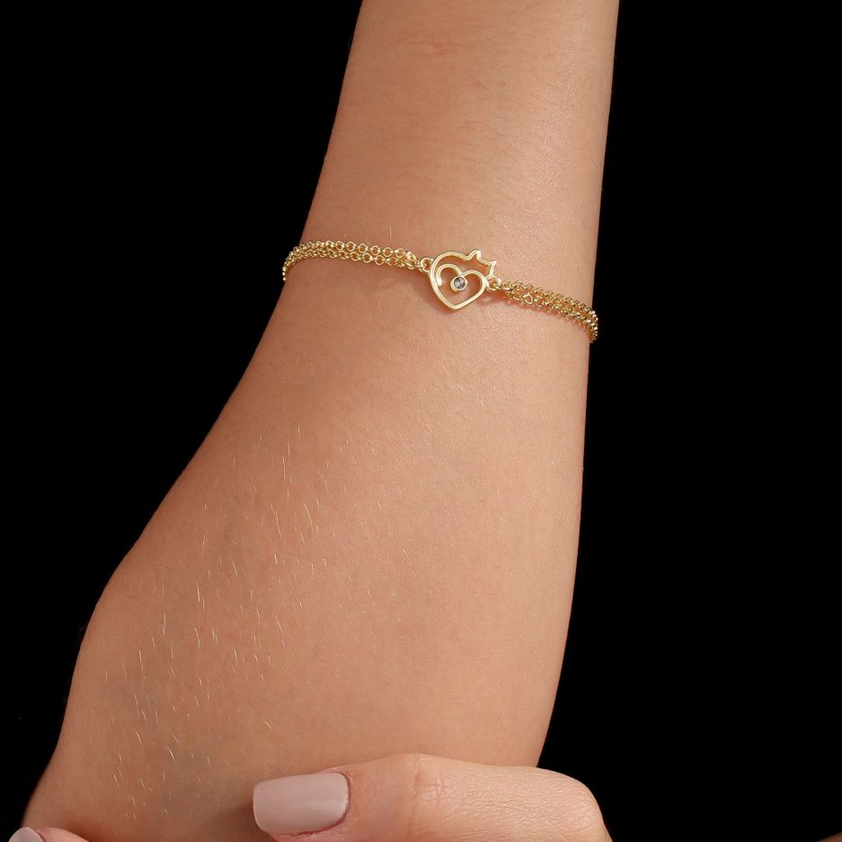 Pulseira Le Chat D'amour Revestido em Ouro