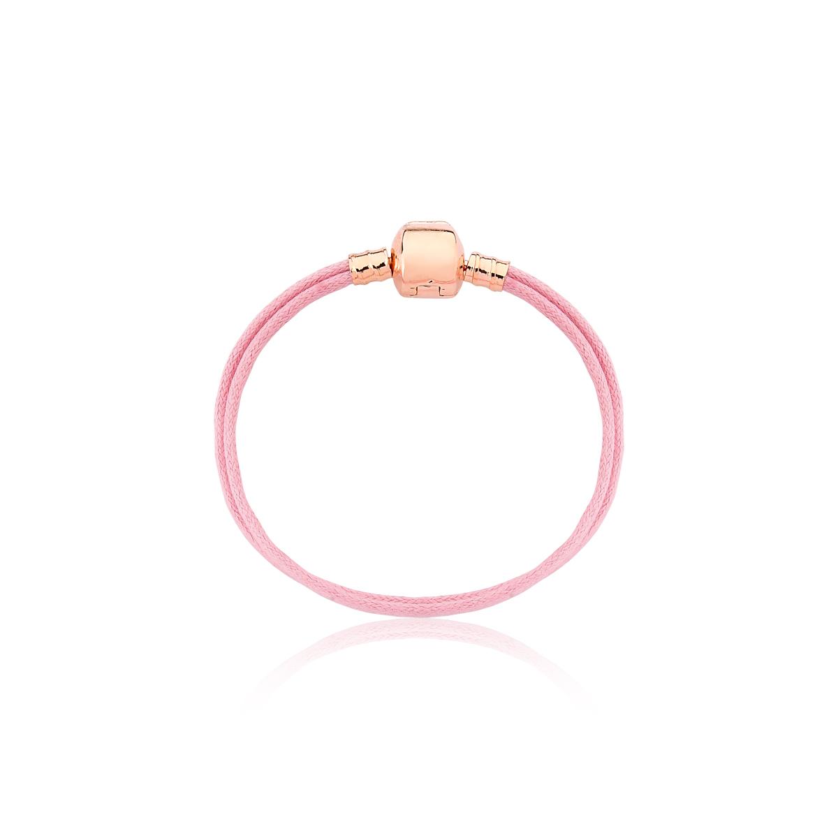 Pulseira Infantil Cord Pink Revestida em Ouro Rose
