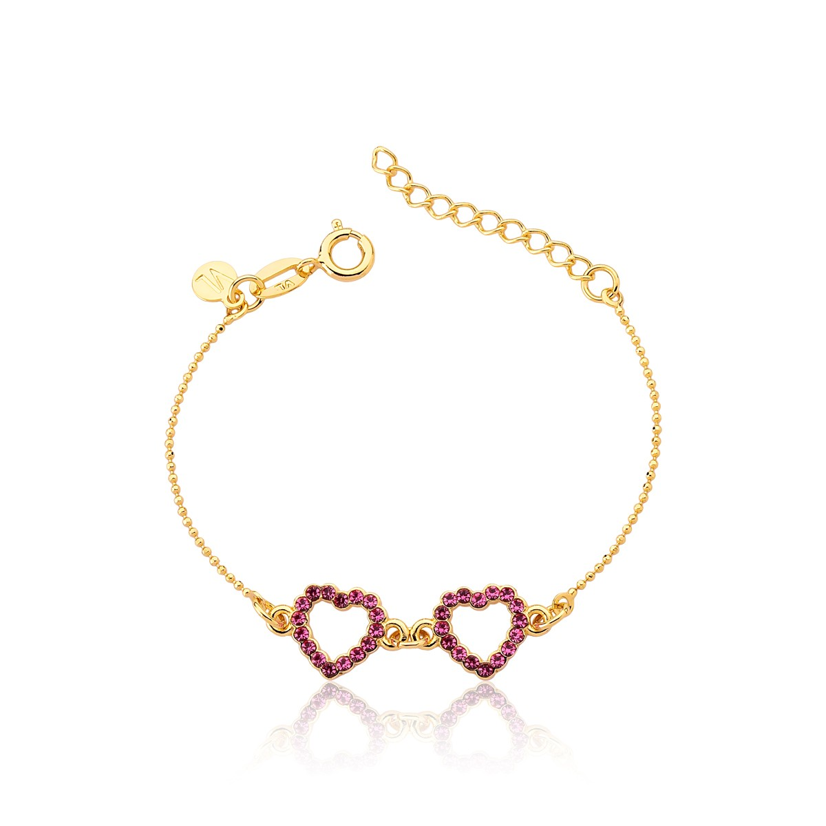 Pulseira Princess Heart Revestida em Ouro