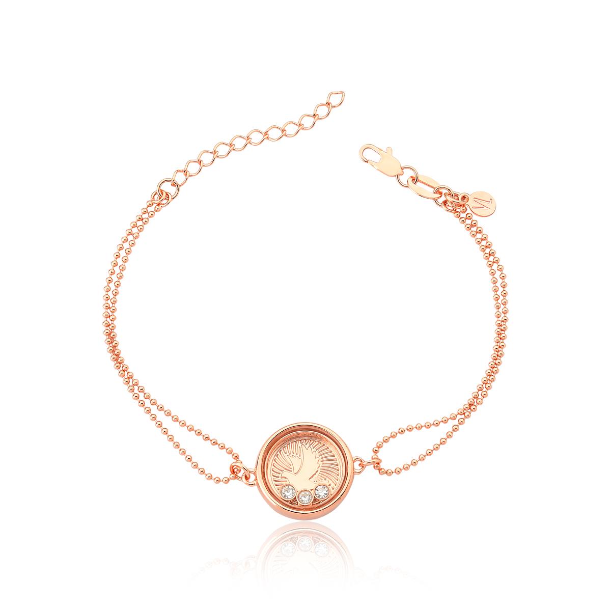 Pulseira Reliquaire Ballet Crystals Faith Revestida em Ouro Rose