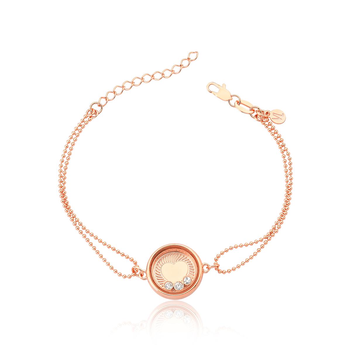 Pulseira Reliquaire Ballet Crystals Heart Revestida em Ouro Rose