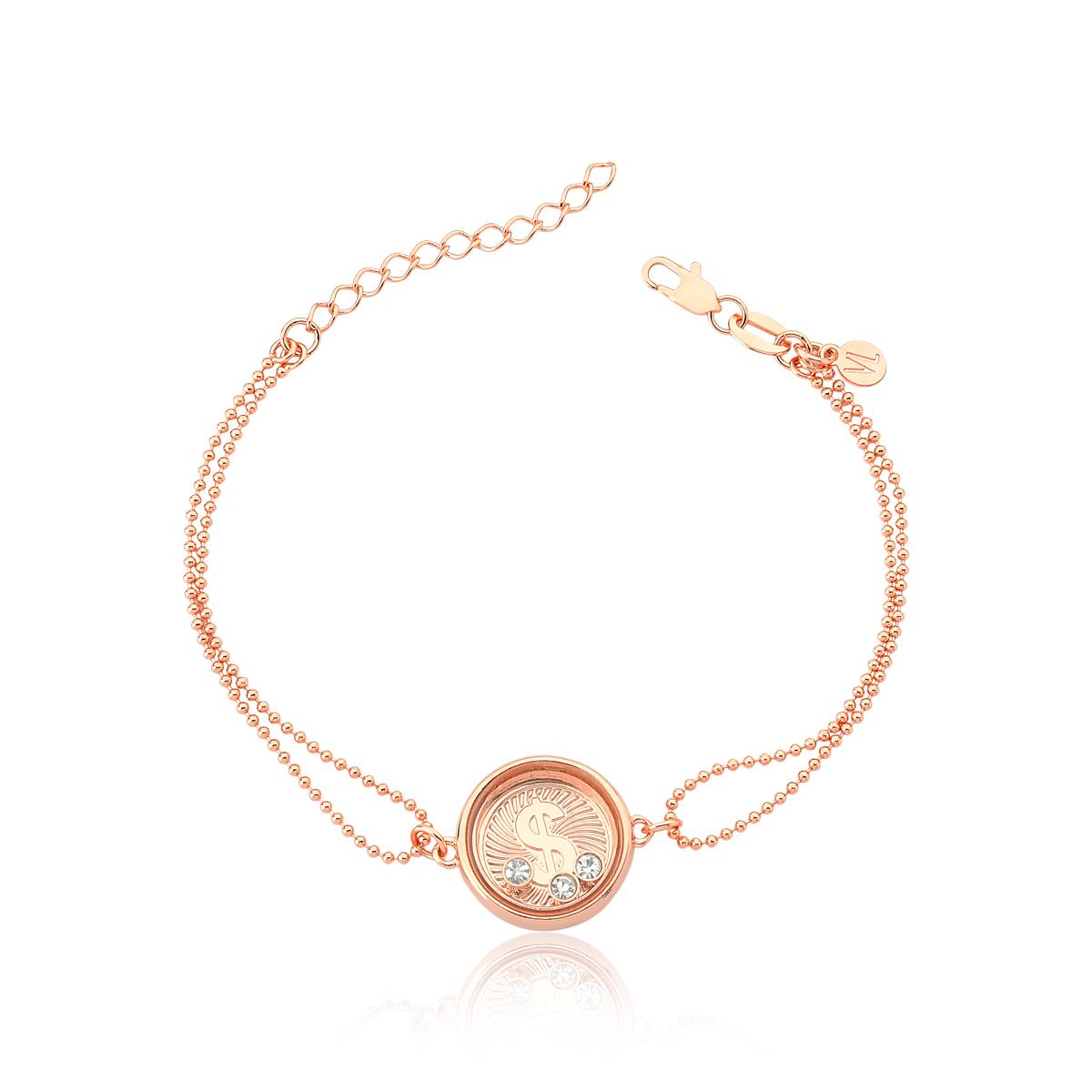 Pulseira Reliquaire Ballet Crystals Prosperity Revestida em Ouro Rose