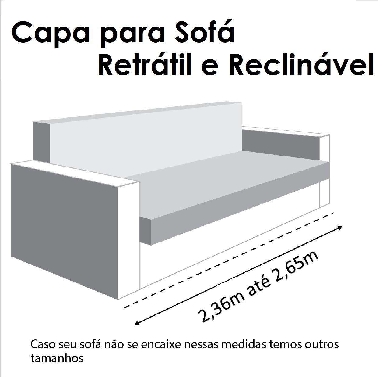Capa p/ Sofá Retrátil e Reclinável em GORGURÃO CRU - Veste Sofás de 2,36m até 2,65m
