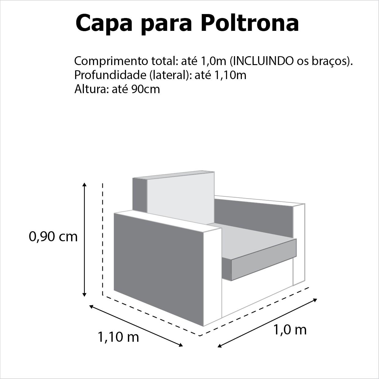 Capa p/ Sofá de 1 Lug CINZA em Gorgurão