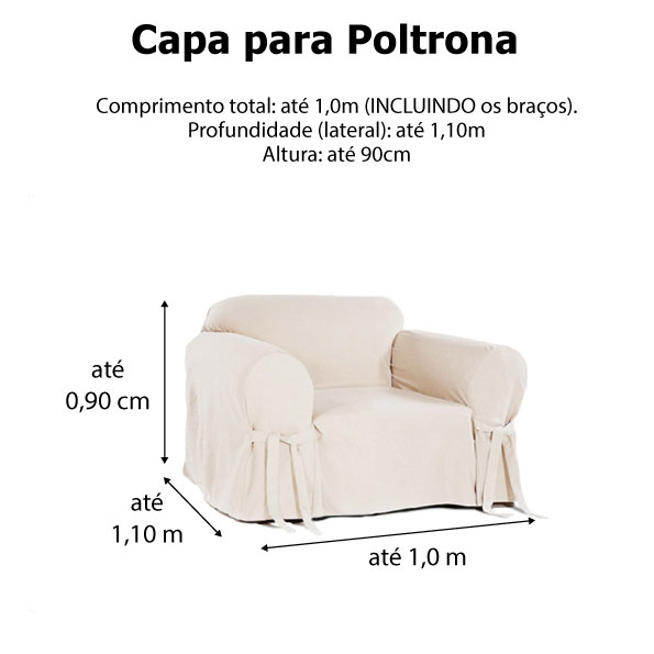 Capa p/ Sofá de 1 Lug CRUA em Gorgurão