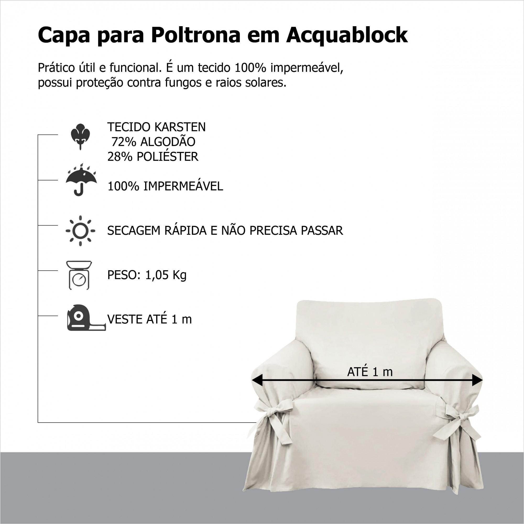 Capa p/ Sofá de 1 Lug GRAFITE em Acquablock Impermeável