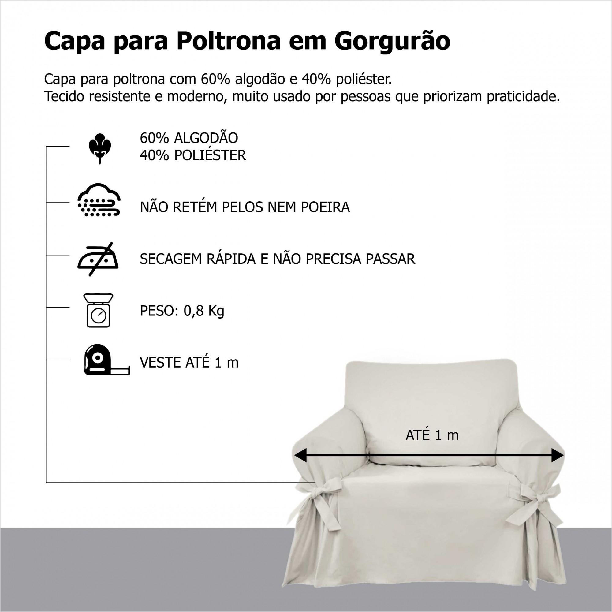 Capa p/ Sofá de 1 Lug MARROM em Gorgurão