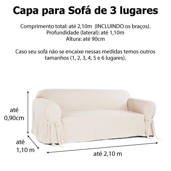 Capa p/ Sofá de 3 Lug BEGE em Brim