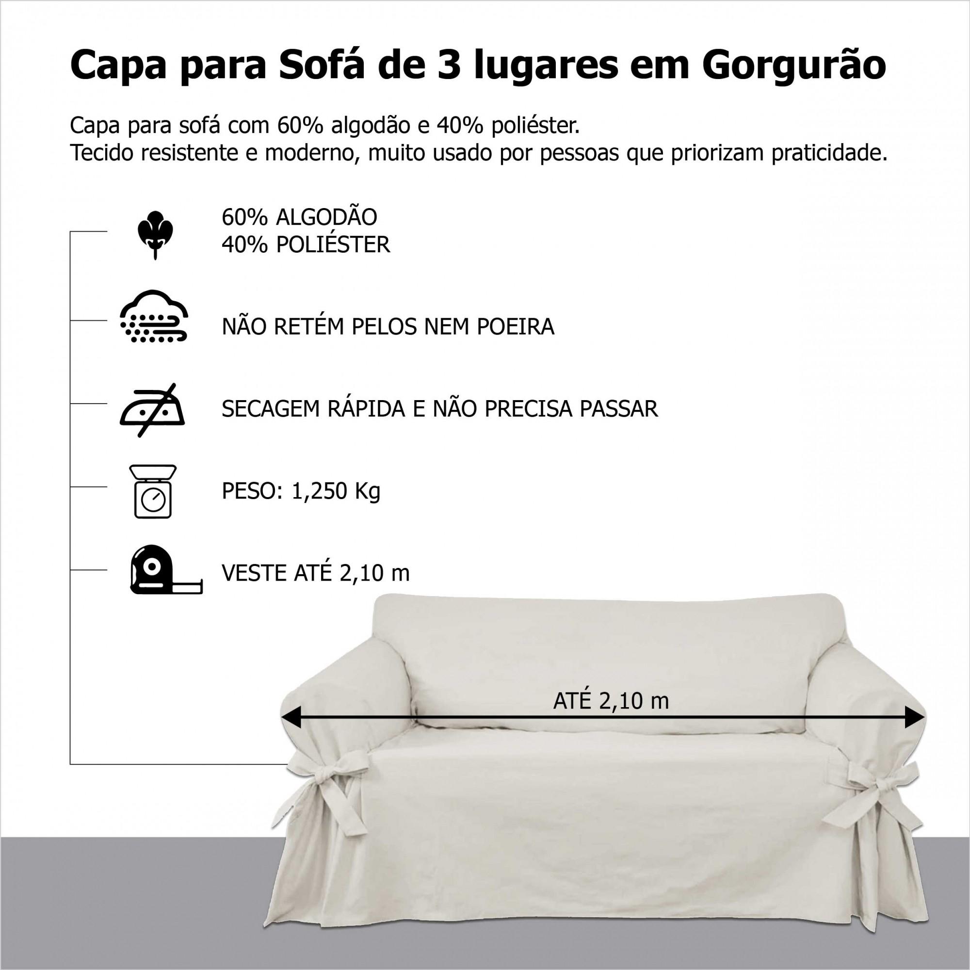 Capa p/ Sofá de 3 Lug CINZA em Gorgurão