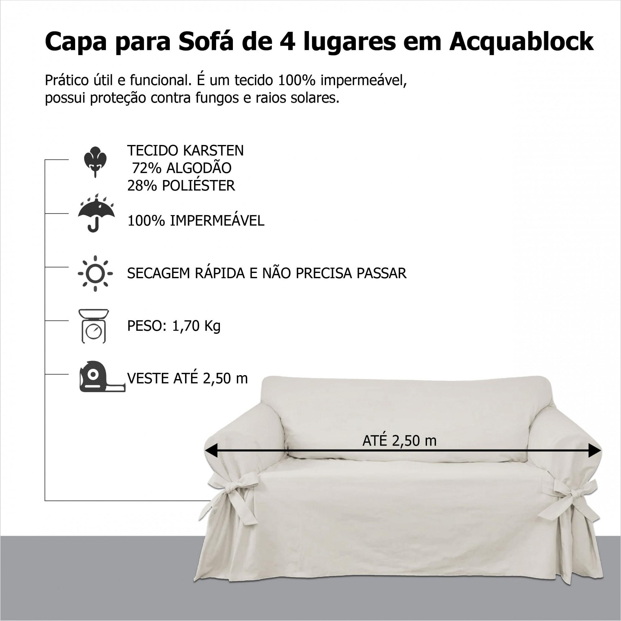Capa p/ Sofá de 4 Lug BEGE em Acquablock Impermeável
