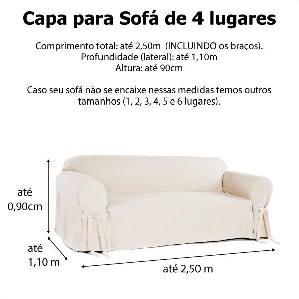 Capa p/ Sofá de 4 Lug BEGE em Gorgurão