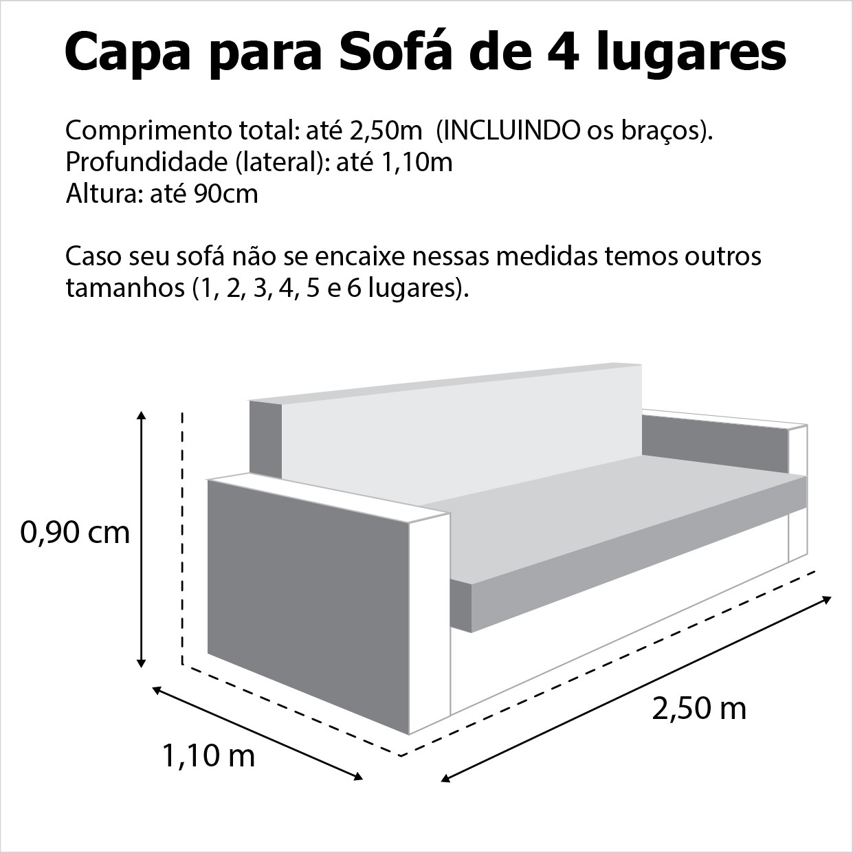 Capa p/ Sofá de 4 Lug GRAFITE em Brim
