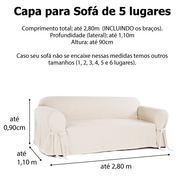 Capa p/ Sofá de 5 Lug CRUA em Acquablock Impermeável