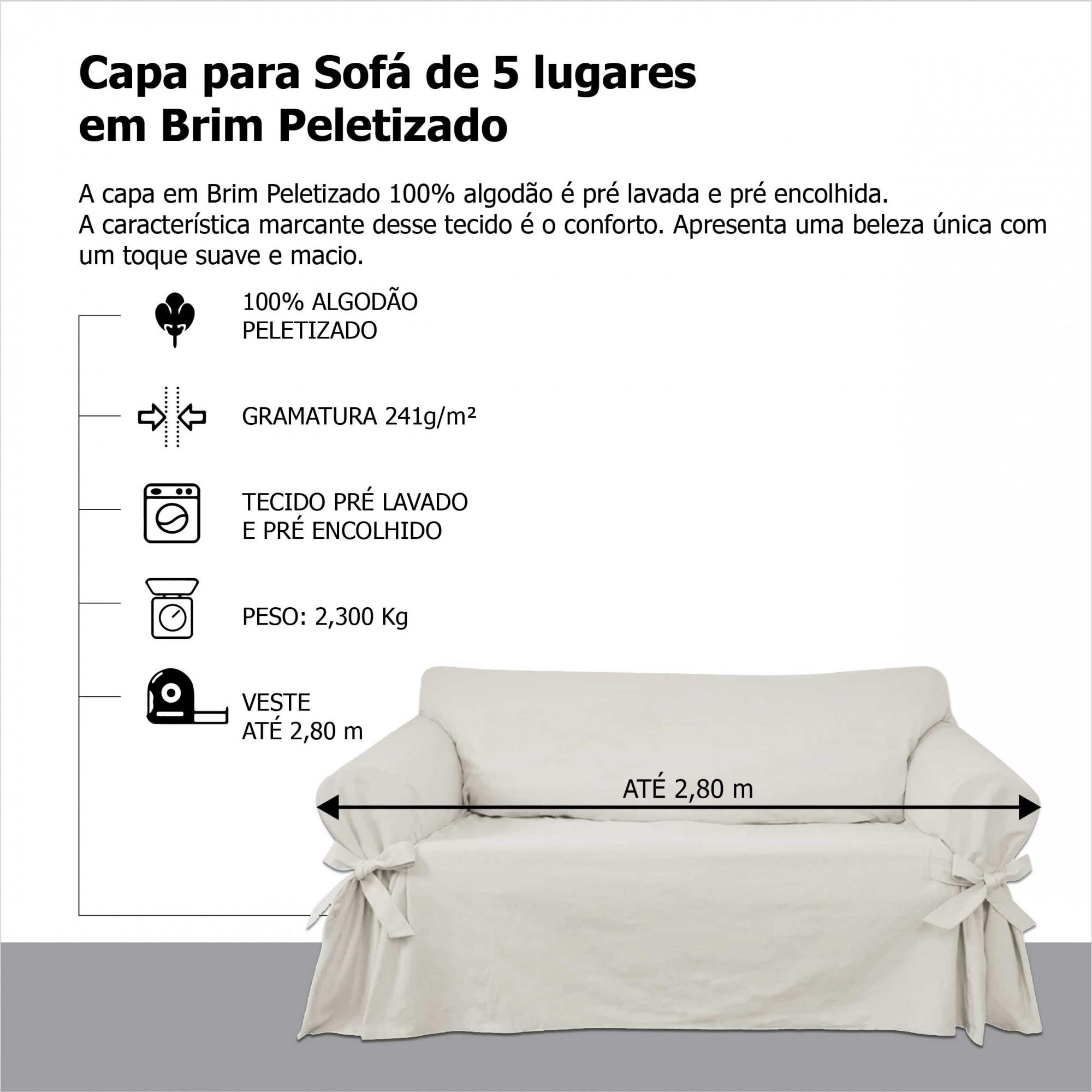 Capa p/ Sofá de 5 Lug CRUA em Brim