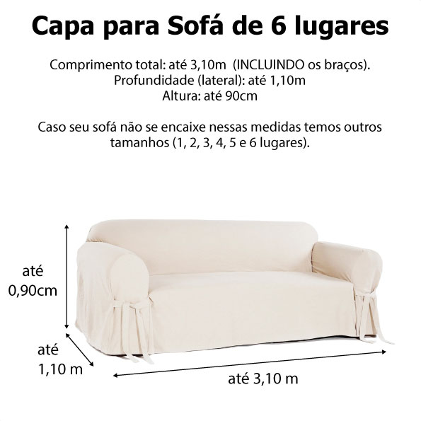 Capa p/ Sofá de 6 Lug BRANCO em Piquet