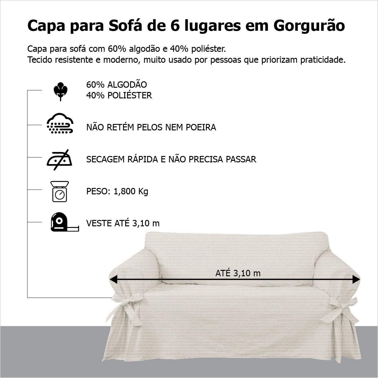 Capa p/ Sofá de 6 Lug CINZA em Gorgurão