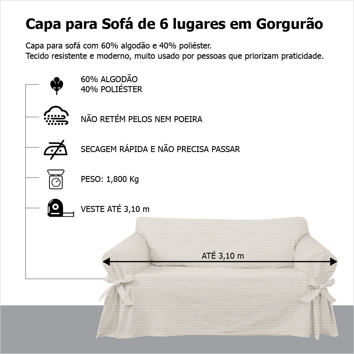 Capa p/ Sofá de 6 Lug PRETO em Gorgurão