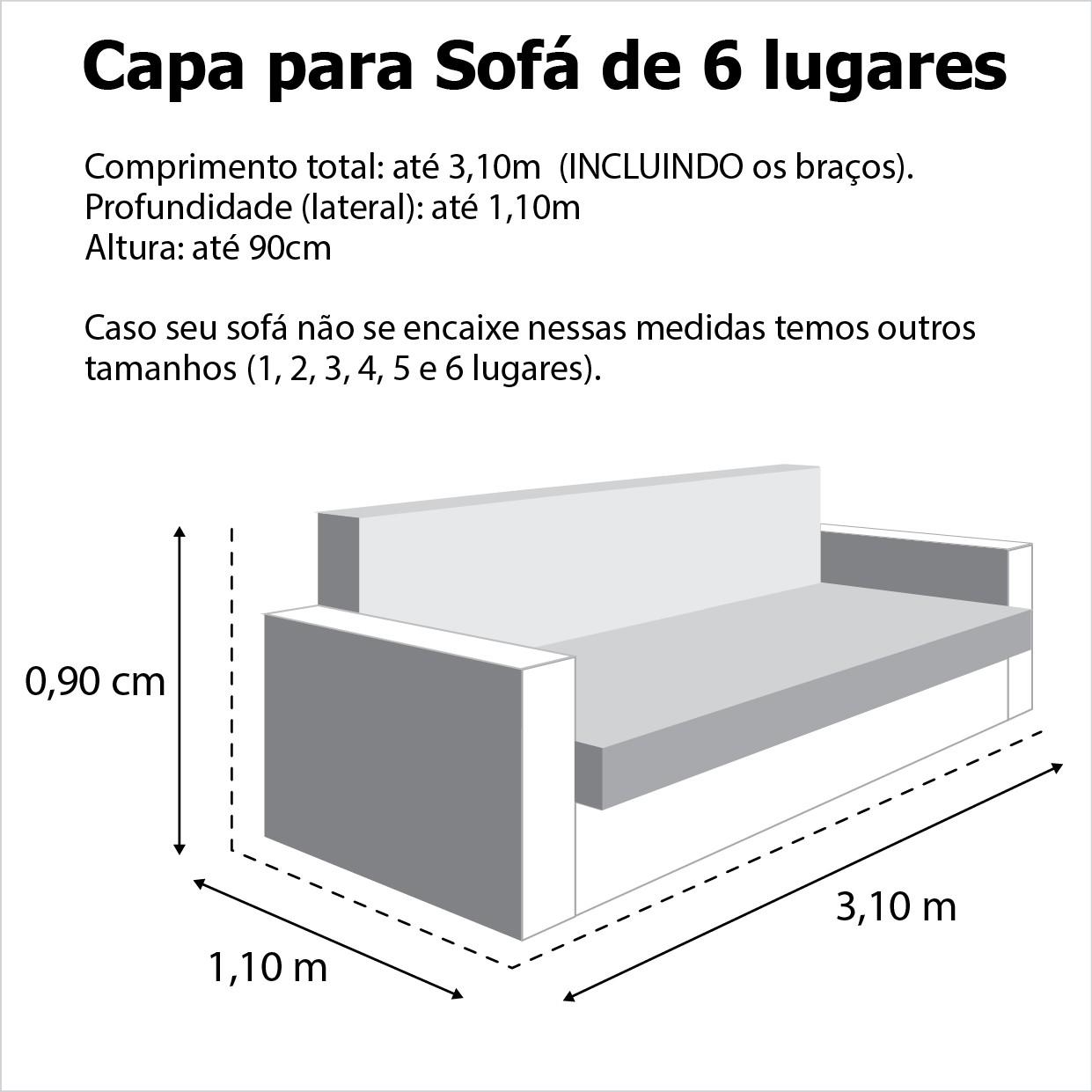 Capa p/ Sofá de 6 Lug GRAFITE em Brim