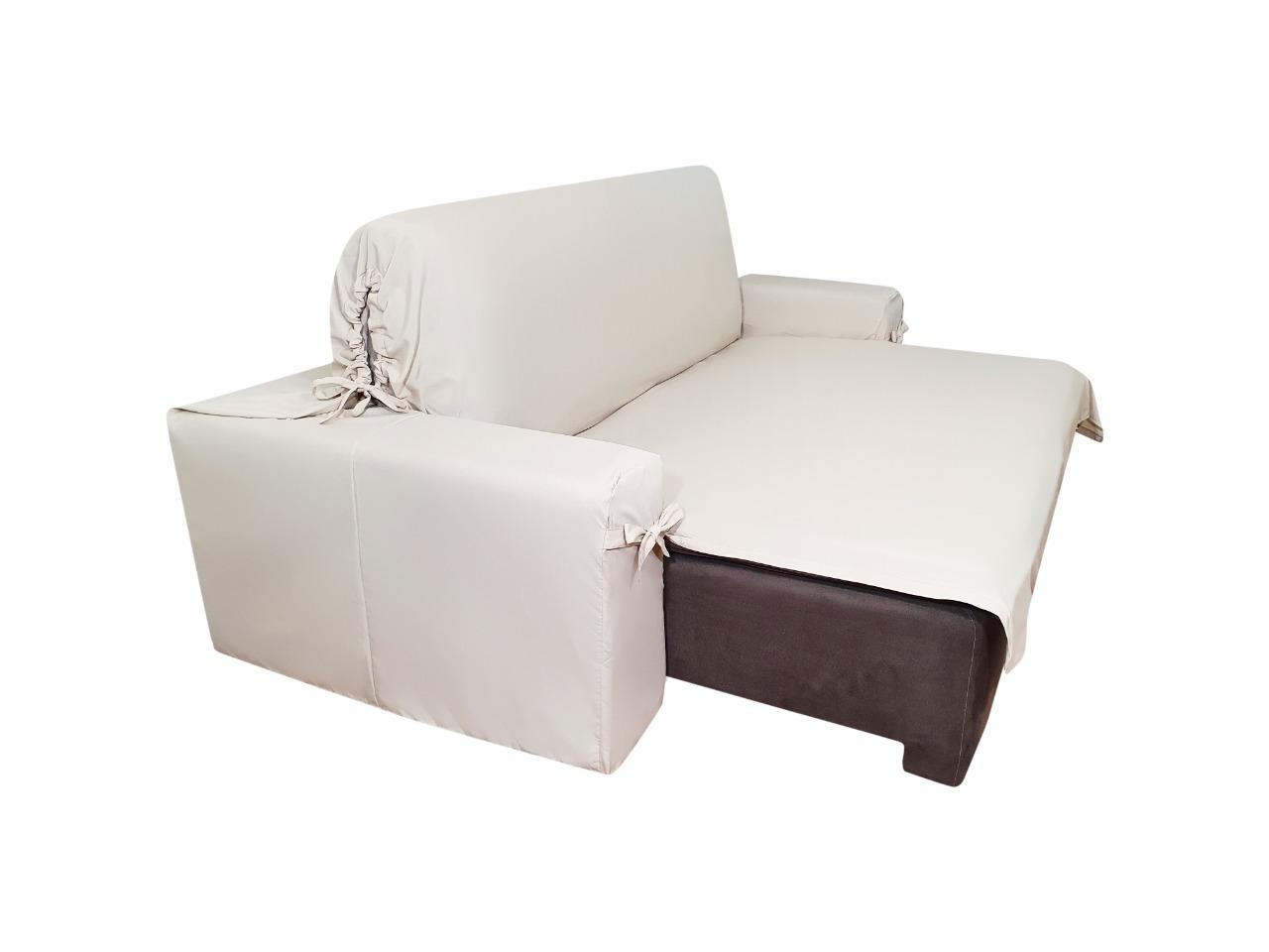 Capa p/ Sofá Retrátil e Reclinável em GORGURÃO BEGE - Veste Sofás de 1,50m até 1,95m