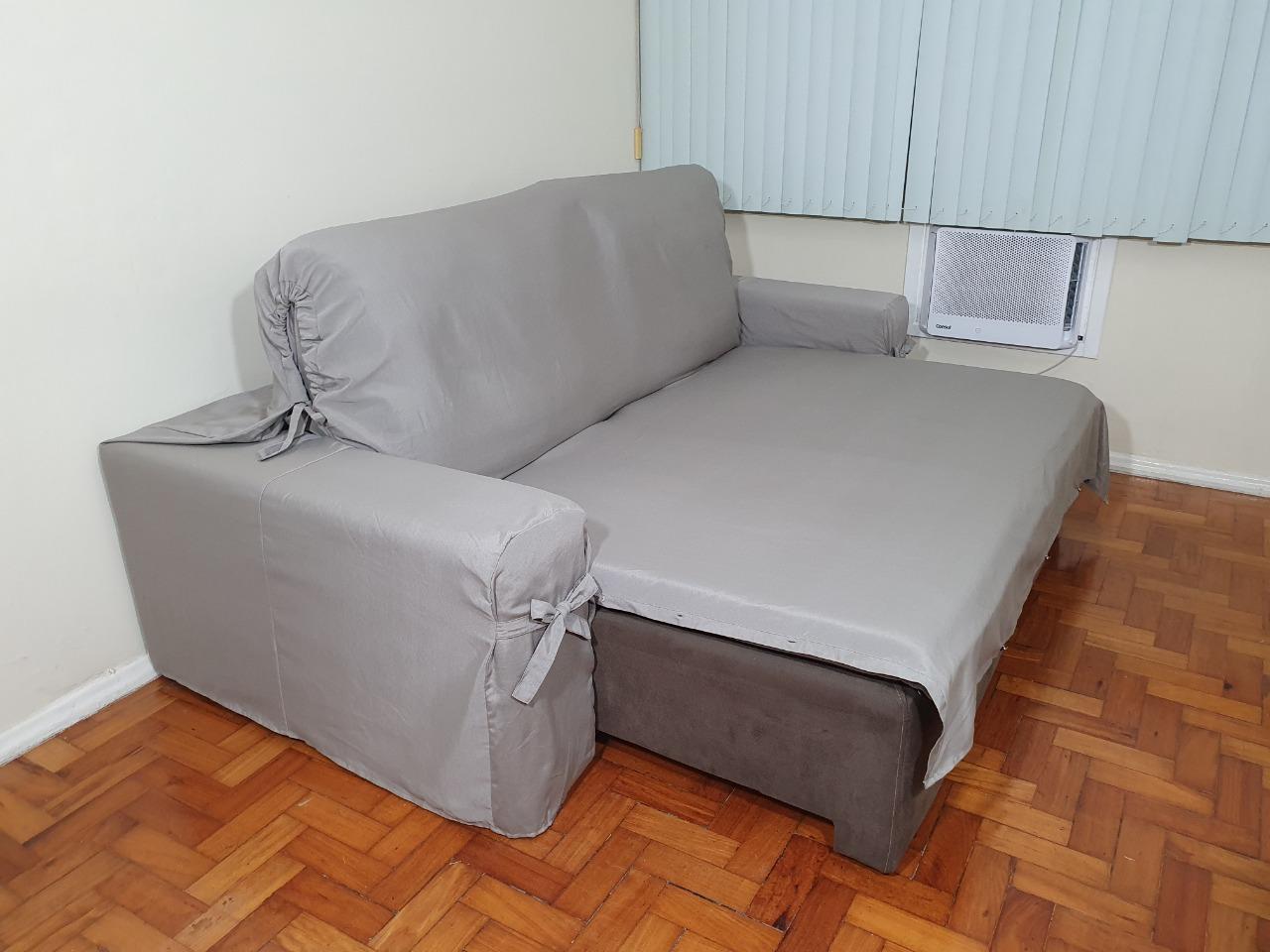 Capa p/ Sofá Retrátil e Reclinável em GORGURÃO CINZA - Veste Sofás de 1,96m até 2,35m