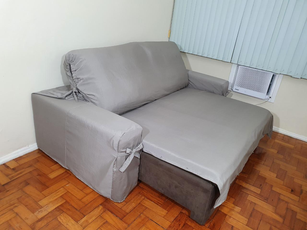 Capa p/ Sofá Retrátil e Reclinável em GORGURÃO CINZA - Veste Sofás de 2,36m até 2,65m