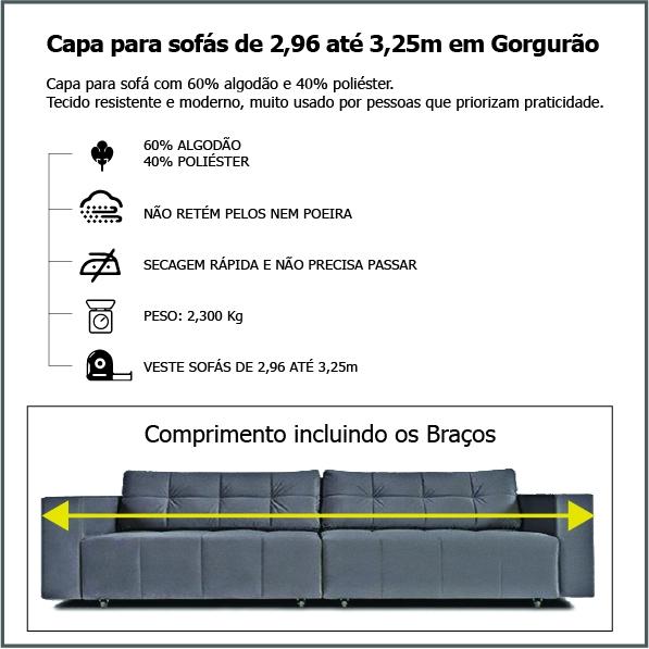 Capa p/ Sofá Retrátil e Reclinável em GORGURÃO CINZA - Veste Sofás de 2,96m até 3,25m