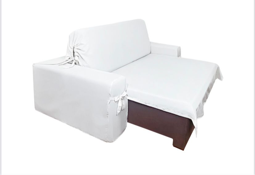 Capa p/ Sofá Retrátil e Reclinável em GORGURÃO CRU - Veste Sofás de 1,96m até 2,35m
