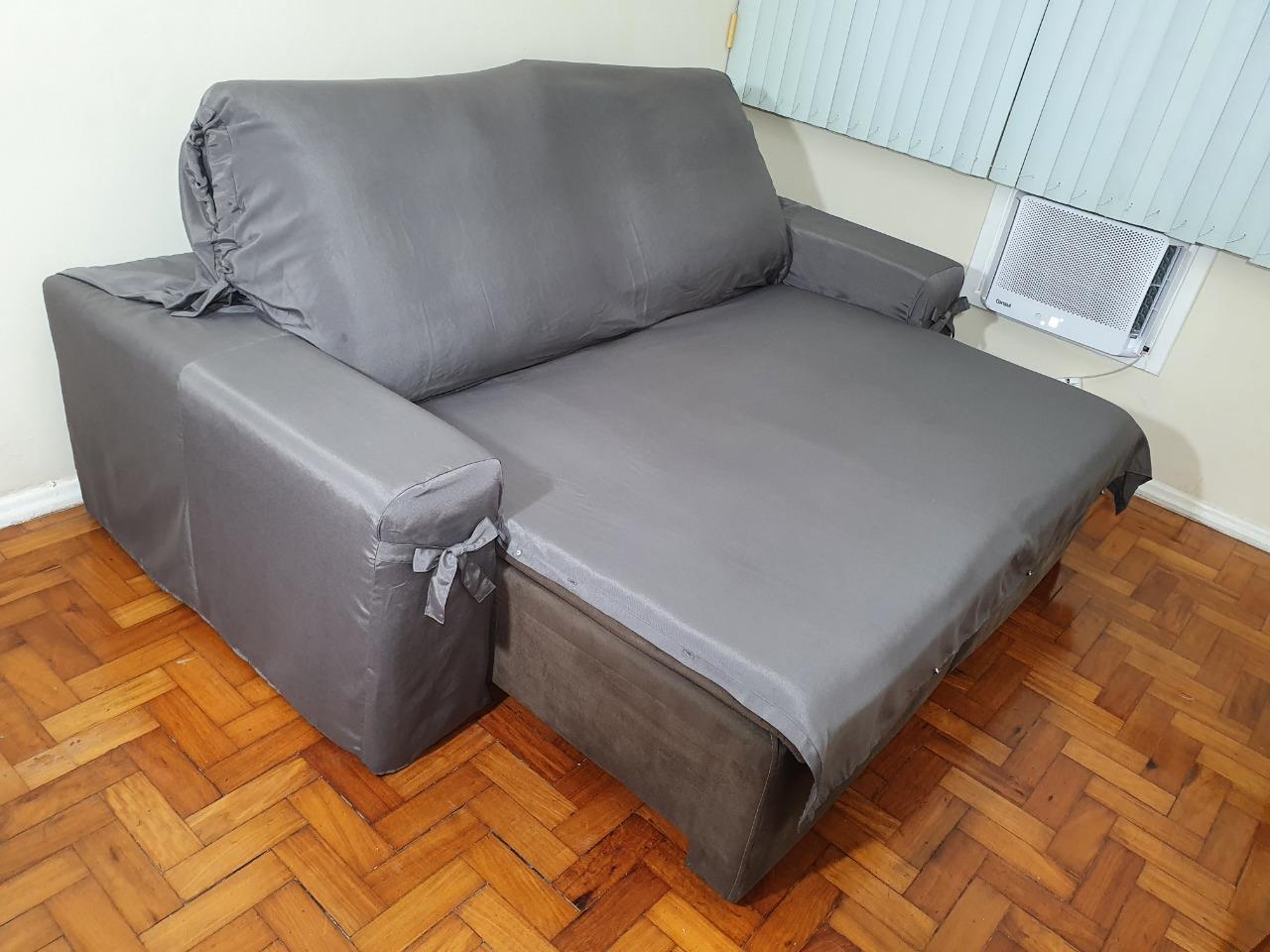 Capa p/ Sofá Retrátil e Reclinável em GORGURÃO  GRAFITE - Veste Sofás de 1,50m até 1,95m