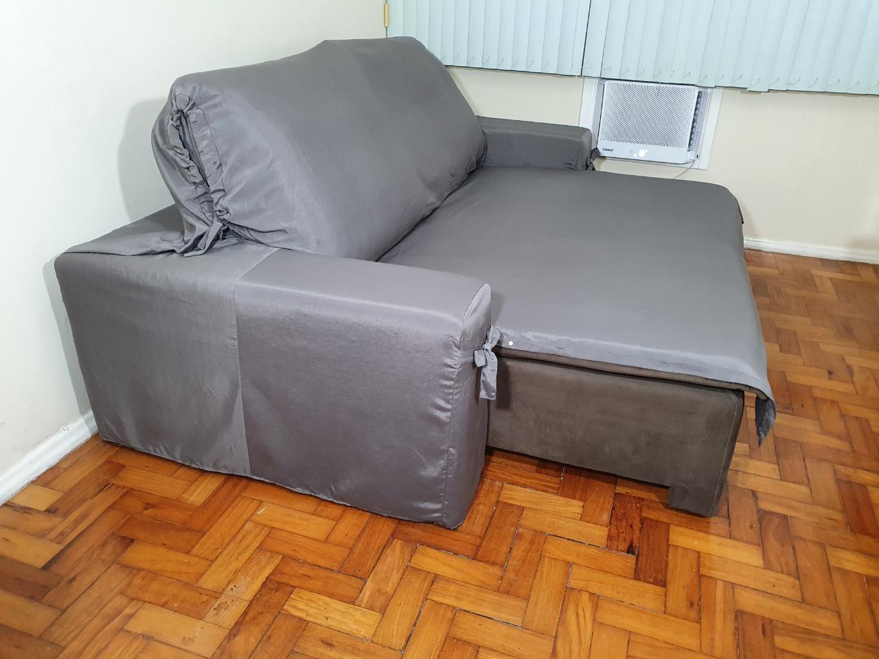 Capa p/ Sofá Retrátil e Reclinável em GORGURÃO GRAFITE - Veste Sofás de 1,96m até 2,35m