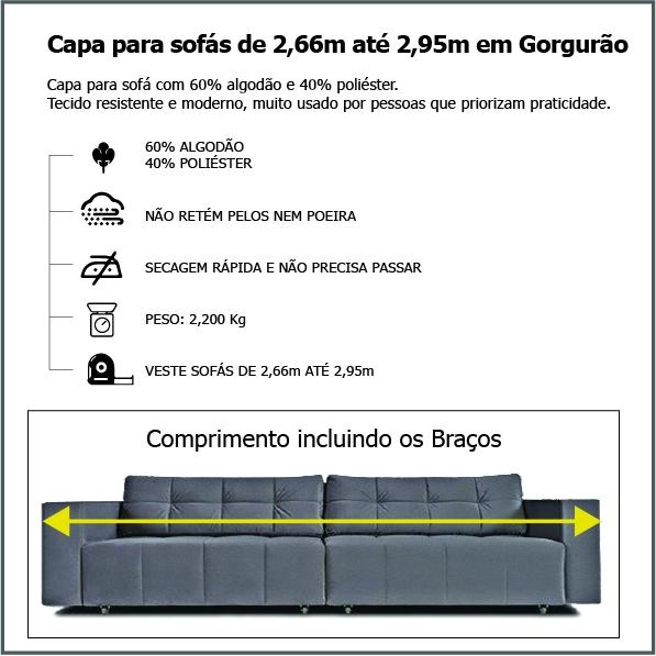 Capa p/ Sofá Retrátil e Reclinável em GORGURÃO GRAFITE - Veste Sofás de 2,66m até 2,95m