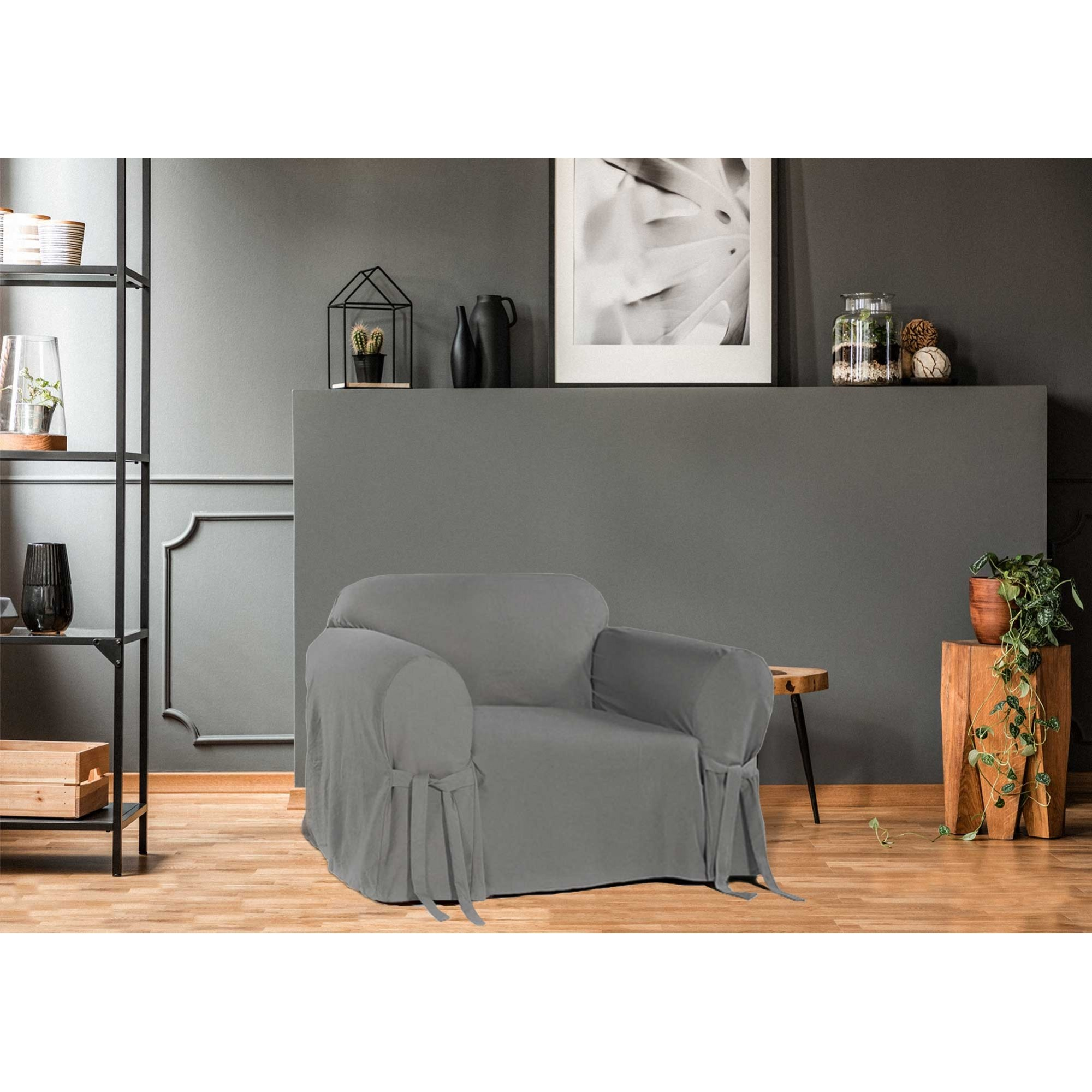 Capa p/ Sofá de 1 Lug GRAFITE em Brim