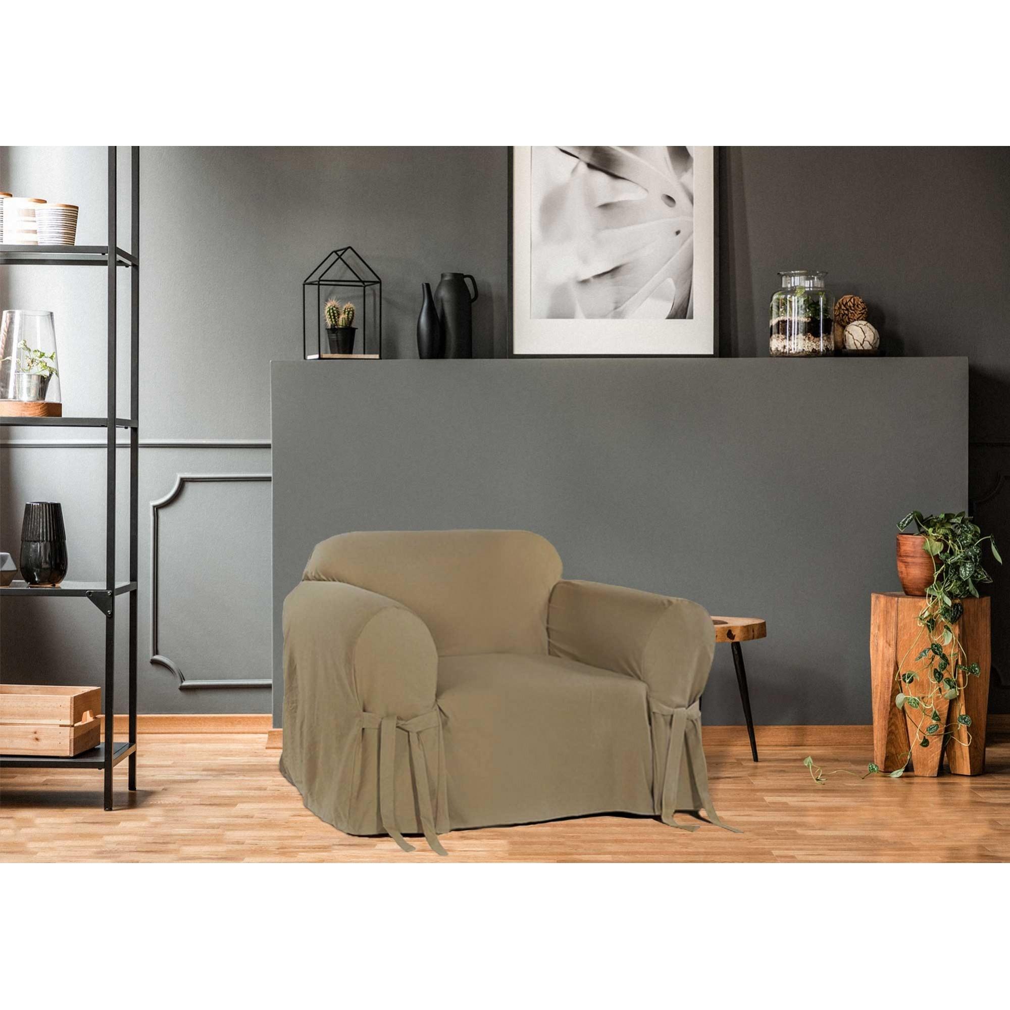 Capa p/ Sofá de 1 Lug MARROM em Brim