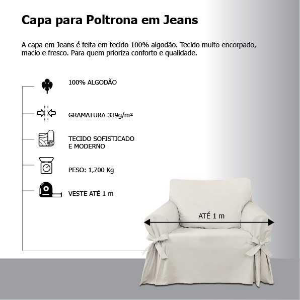 Capa para Sofá de 1 Lugar em Jeans Ecológico