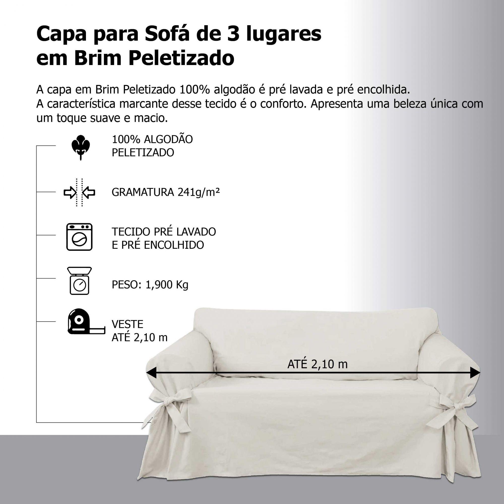 Capa para Sofá de 3 Lugares em Brim Sarja 100% Algodão