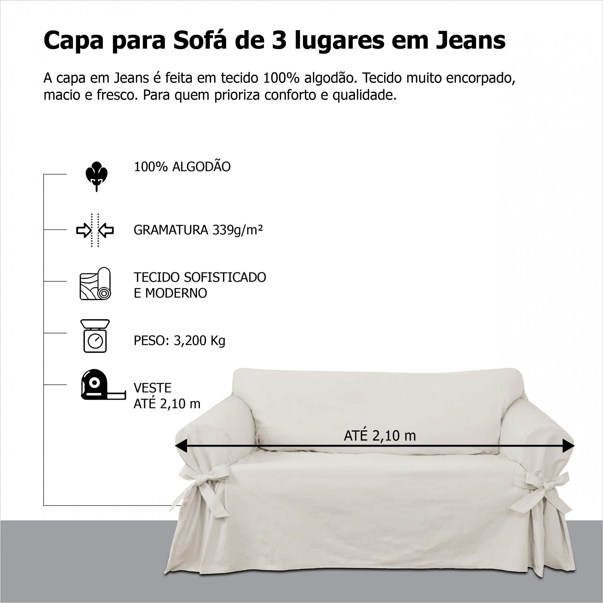 Capa para Sofá de 3 Lugares em Jeans